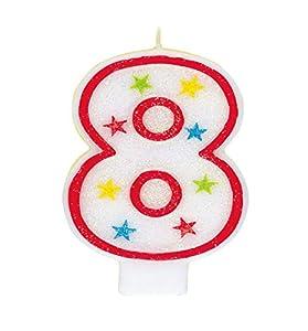 Número 8 brillo cumpleaños Vela y decoración de la torta del feliz cumpleaños