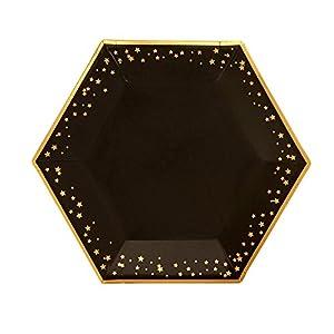 Neviti- Glitz and Glamour Platos de papel, Color black/gold, Large (773161)