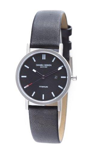 Danish Design Women's 30mm Black Genuine Leather Band Titanium Case Sapphire Crystal Quartz Watch IV13Q323