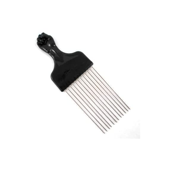 Titan Afro Pick with Black Fist Metal African American Hair Comb