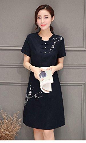 Blansdi Femme Vrac Robe Rétro Tunique en Coton Longue Chemise A-Lin Grande Taille Vintage Robe Noir