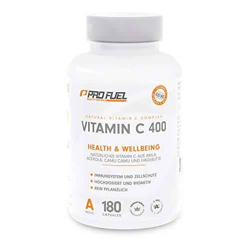 VITAMIN C 400 | Natürliches Vitamin C aus Amla, Acerola, Camu-Camu & Hagebutten | 400mg pro Tagesdosis | 3 Monatsvorrat | 180 vegane Kapseln (180 Kapseln)