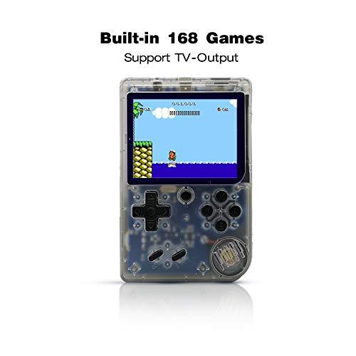 Anbernic Console di Giochi Portatile , Console di Giochi Retro Game Console 3.0 Pollice 168 Classic Giochi ,TV Output Videogioco Portatile per Genitori dei Bambini Amici -Transparent Bianco