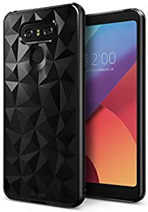 LG G6 Case, Ringke [AIR PRISM] Luxurious Vogue Trendy Design Chic Ultra Rad Pyramid Stylish Diamond Pattern Flexible Gemstone-Like Texture Defensive TPU Shock Absorbent Cover For LG G6 – Ink Black