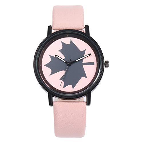Armbanduhr für Damen/Dorical Frauen Analog Quarz Uhr mit Kunstleder Armband Uhr/Fashion Kreatives Ahornblatt Uhr Elegant Armbanduhr(Rosa)