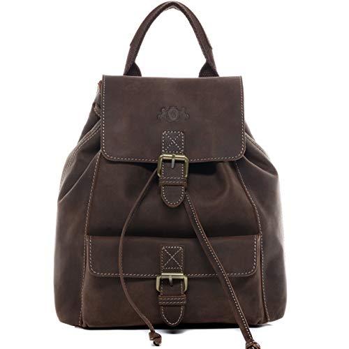 SID & VAIN Rucksack Leder Susan klein Backpack Tagesrucksack Stadtrucksack Damen Lederrucksack Damentasche braun