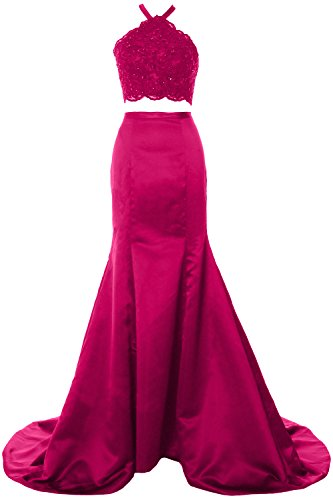 MACloth Women Mermaid 2 Piece Long Prom Dress Halter Lace Formal Evening Gown Fuchsia