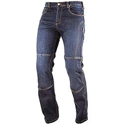 Jeans 100% Coton Moto Pantalon CE Protections Renforts Aramid Homme bleu 28