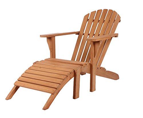 Mr. Deko Teak Deckchair Adirondack Teak - Bear Chair - Liegestuhl - Relaxliege - Gartenliege - Outdoormöbel - Teakholz - für Balkon, Terrasse, Wintergarten, Garten - Adirondack Liegestuhl