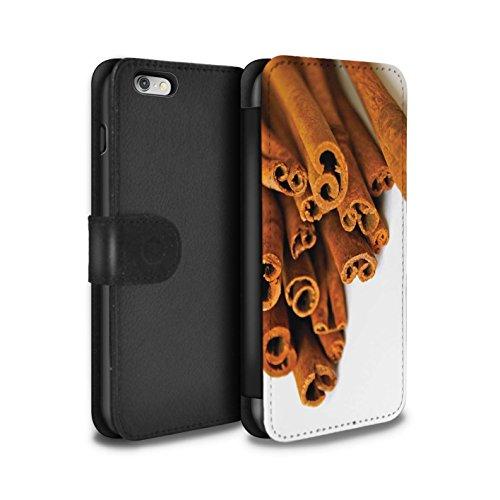 Stuff4 Coque/Etui/Housse Cuir PU Case/Cover pour Apple iPhone 6+/Plus 5.5 / Gâteau Fruits Design / Nourriture de Noël Collection Bâtons Cannelle