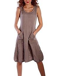 Damen Kleider Leinen ärmellos mit schönen Details Sommerkleid