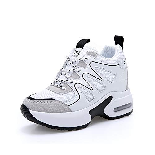 AONEGOLD Sneakers Zeppa Donna Scarpe da Ginnastica Sportive Fitness Scarpe  con Zeppa Interna Tacco 7 cm 8c489ada6c1
