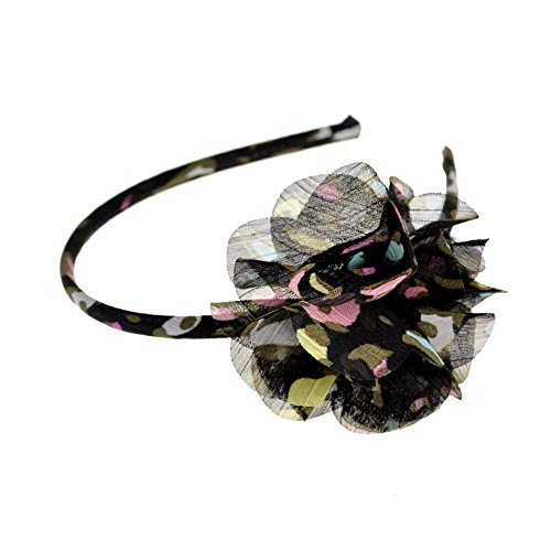 Cloud9basic Adorable Leopard/Floral Printed Flower Chiffon Headband, Girls' Alice Band, Nice Gift for Daughters, Size: Flower - approx. 7cm across, Band - 0.7cm