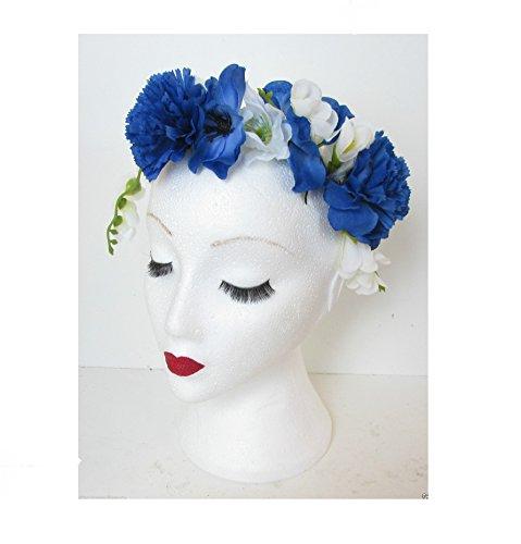 Bleu Blanc/festival/style bohème Motif floral vintage Primrose Serre Tête Fleur Carnation L89 * * * * * * * * exclusivelysold par – Beauté * * * * * * * *