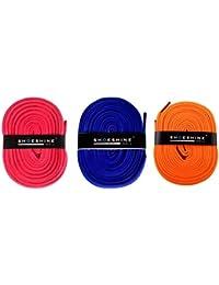 Shoeshine India Sports Pink, Indigo, Neon Orange shoelace (Pack of 3 pair)