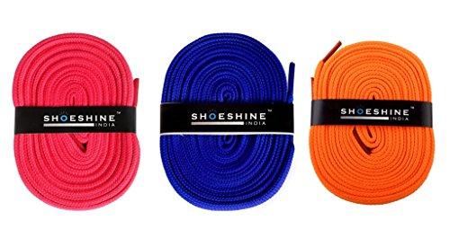 Sports Pink, Indigo, Neon Orange shoelace (Pack of 3 pair)