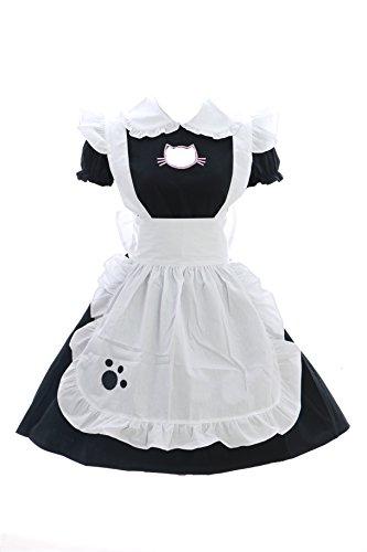JL-635 Cat Neko Katze schwarz Maid Zofe Anime Zimmermädchen Gothic Lolita Kleid Set Kostüm Cosplay (EUR (Anime Maid Neko Kostüm)