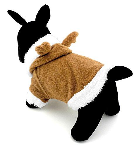 zunea Rentier klein Hund Katze Halloween-Kostüm Kapuzen Fleece Puppy Outfits Weich Warm Pet Coat Shirt Pitbulls Mops Chihuahua Kleidung