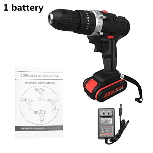 fish Multifunctional 48V Lithium Battery Power Drills Cordless Rechargeable Electric Drill Hand Drils Home DIY Electric Power Tools,Black,EU -