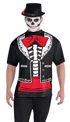 änner Kostüm T- Shirt Day of the Dead, Mehrfarbig, One Size (Sugar Skull-männer-make-up)