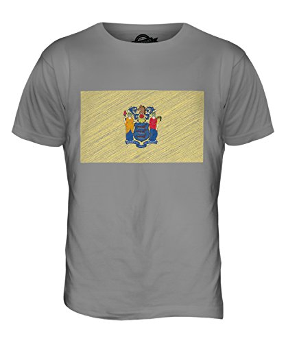 CandyMix Bundesstaat New Jersey Kritzelte Flagge Herren T Shirt Hellgrau