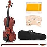 COSTWAY 4/4 Violine Geige Massivholz mit Koffer, Bogen Kolophonium und Saite, Fichte Ahorn, für Einsteiger Schüler Musikliebhaber Geigenkoffer 81,5 x 26 x 14cm