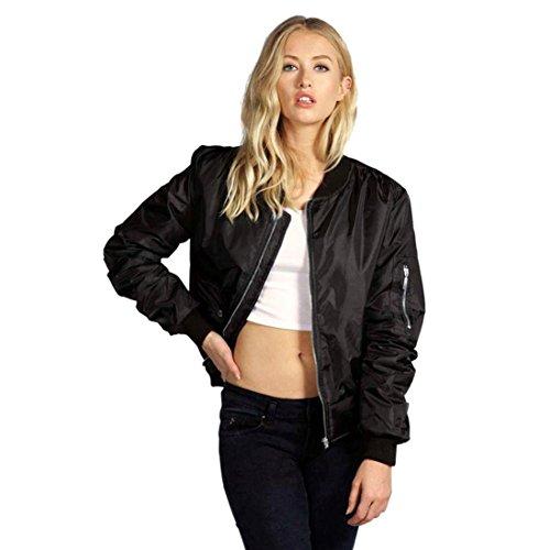 Longra Damen Jacken Vintage Bomberjacke Bikerjacke Fliegerjacke Kurz Mantel Klassische Jacke mit Reißverschluss Blazer Frauen Blouson Damen...