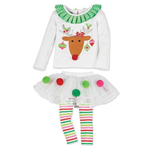 hen Outfits Weihnachten, Janly 2 STÜCKE Nette Infant Elch Rüschen Tops + Tutu Kleid Rock Striped Lange Hosen (Weiß, Alter: 5-6 Jahre alt) ()