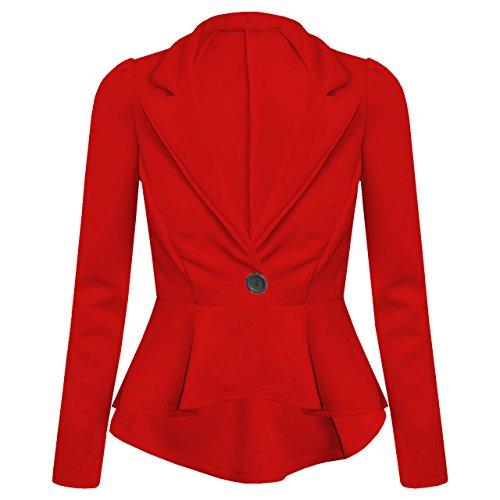 Fashion Top–Veste de costume–Manches longues–Base–Manches longues–Femme Rouge (rosso)