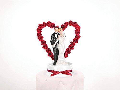 """Torten - Figur Hochzeit """"Brautpaar mit Herzbogen"""" (mit Blumen weiß/dunkelrot; Mann links)"""