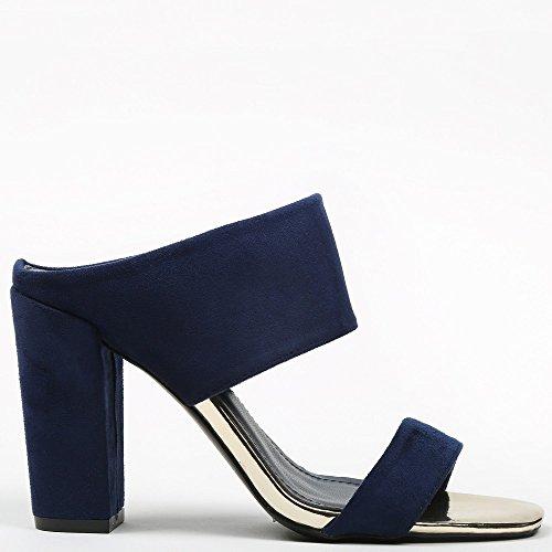 Ideal Shoes Sandales à Talon Épais Effet Daim Maha Marine