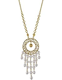 Zephyrr Fashion Round Pendant Necklace With Pearl Beads Tassels For Girls And Women