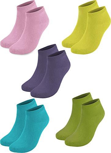 normani 10 Paar Baumwolle Sommer Sneaker Socken für Damen und Herren Auswahl Farbe Rosa/Lila/Grün/Gelb/Türkis Größe 43/47