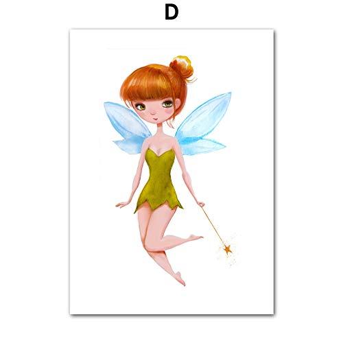 Geiqianjiumai Nettes Mädchen Engel schöne Meerjungfrau nordische Blume Poster und Druck Wandkunst Leinwand Wandbild Kind rahmenlose Malerei 60x80cm