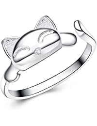 Bague Argent 925 ajustable réglable ouverte chat avec un écrin cadeau pour femme fille- Idée Cadeau Noël Anniversaire