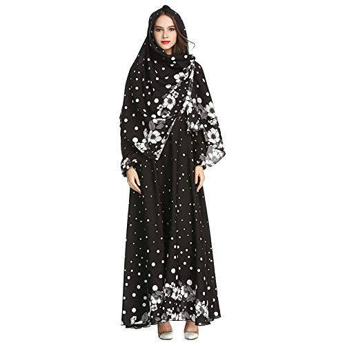 f37f4f62b6620 Meijunter Muslim Maxi Dress with Hijab for Women - Long Sleeve Abaya Dubai  Kaftan Floral Print Ethnic Robe for Ramadan Black XXL
