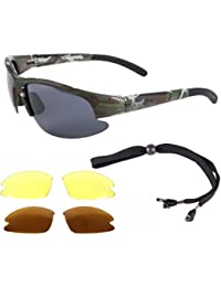 Rapid Eyewear CAMOUFLAGE POLARIZED SPORTS SUNGLASSES with Interchangeable Lenses, for Men & Women. Ideal Fishing, Shooting, Military Army Glasses. UV400 Anti Glare Protection
