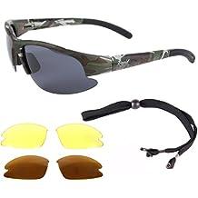 Rapid Eyewear Catch Pro Polarisierte TARNUNG ANGLERBRILLE/SCHIESSBRILLE mit Wechselgläsern für Fliegenfischen, Karpfenangeln, Hochseefischen usw. UV schutz 400