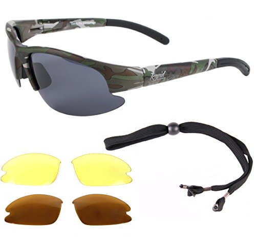 793e844e360 Rapid Eyewear CAMOUFLAGE POLARIZED SPORTS SUNGLASSES with Interchangeable  Lenses