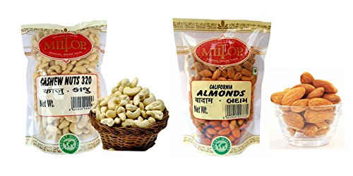 Miltop Combo of California Almonds, 1 Kg & Cashew W320, 1 kg  available at amazon for Rs.2199