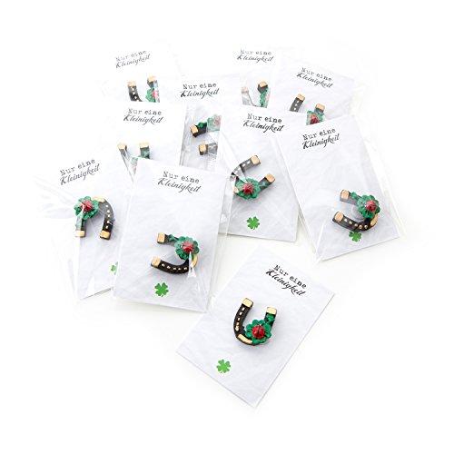 10 kleine schwarze Mini Hufeisen Klebepunkt und Kleeblatt Marienkäfer fertig mit Karte in Folie verpackt NUR EINE KLEINIGKEIT: Gastgeschenk Neujahr Mitgebsel Glücksbringer Geburtstag Fest Feier
