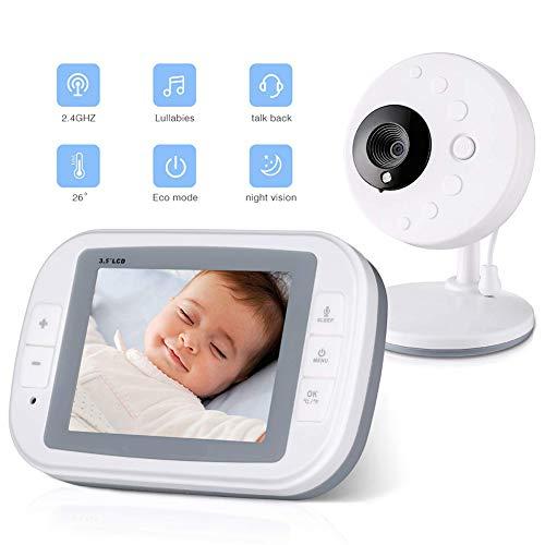 Wireless Baby Monitor Video Kamera 3.5 Zoll LCD Display 2-Wege Audio Gegensprechfunktion, Nachtsicht, Temperatursensor, Eingebauter Akku, Weiß, Modell SP810 Modell 700 Audio-video