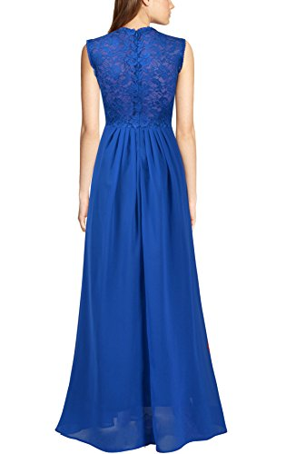 REPHYLLIS Damen Vintage Chiffon Hochzeit Brautjungfer Lang Spitzenkleider Abendkleider Blau