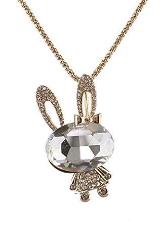 Totoroforet Plaqué or Lapin Collier avec pendentif Strass et cristal bijoux tendance