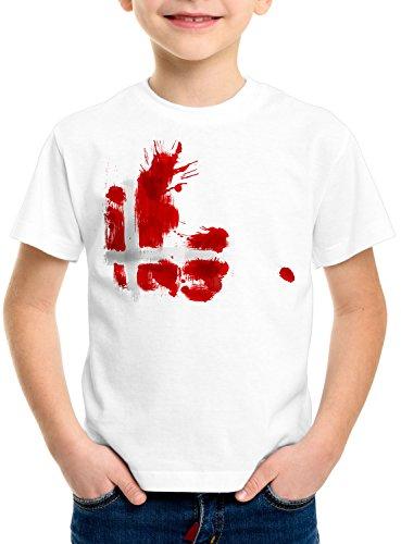 CottonCloud Flagge Dänemark Kinder T-Shirt Fußball Sport Denmark WM EM Fahne, Farbe:Weiß, Größe:152