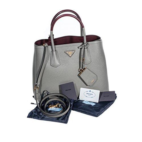 Prada Saffiano leder klein doppelt Grau Shopper (Logo Handtasche Prada)