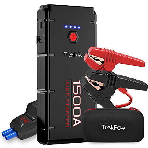 TrekPow G22 Jump Starter 1500A Avviatore Batteria Booster Auto (per Motori 12V Diesel 6.5L e Benzina 8.0L), Caricabetteria con USB QC 3.0 & Type C per Tablet Power Starter Portatile per Auto Moto