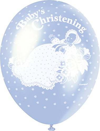 Unique Party Globos Perlados de Látex para Bautizo Christening, Color Azul, 30 cm (80246)