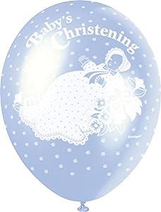 """Unique Party- Globos Perlados de Látex para Bautizo""""Christening"""", Color azul, 30 cm (80246)"""