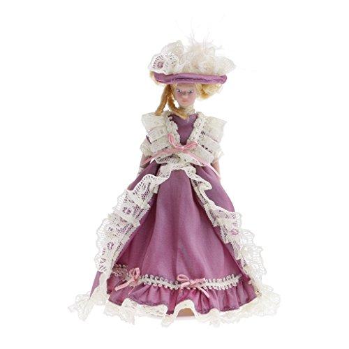 TOOGOO 1/12 Skaladollhouse Menschen Miniatur Porzellan Dame in lila Kleid Puppe Figur Maedchen Spielzeug Geschenk Dekor